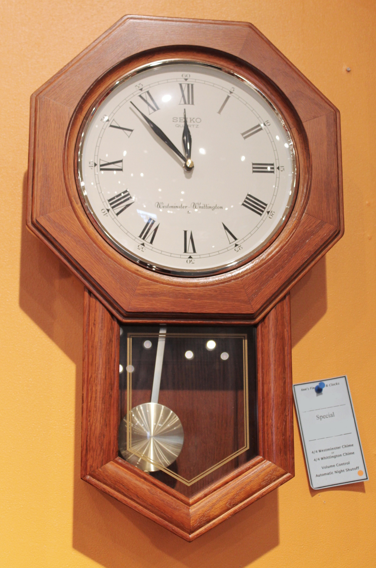 Oak School House Regulator Wall Clock Anns Fine Gifts