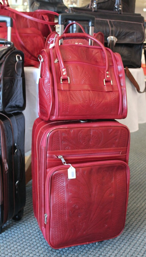 Red Leather Luggage Anns Fine Gifts Houston Texas